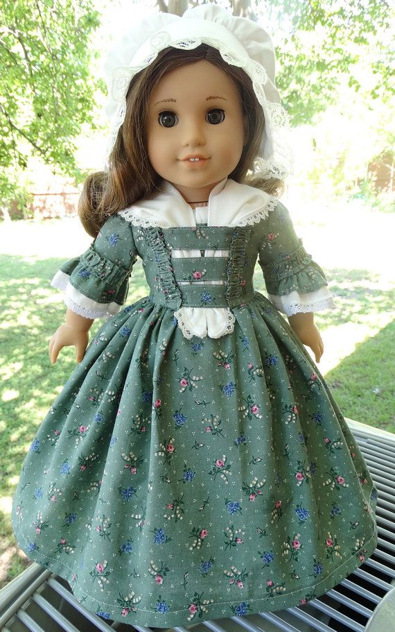 18 Doll Clothes Colonial Style Gown and Cap Fits by Designed4Dolls