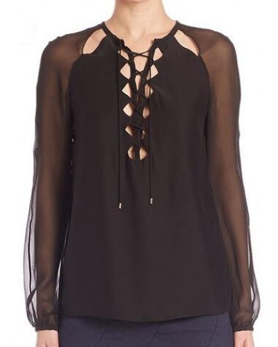 Drawstring lace up tops for women plain black chiffon blouse long sleeve