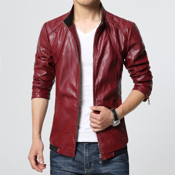 2017 new arrive brand motorcycle leather jackets men ,men's leather jacket, jaqueta de couro masculina, red leather jackets 6XL