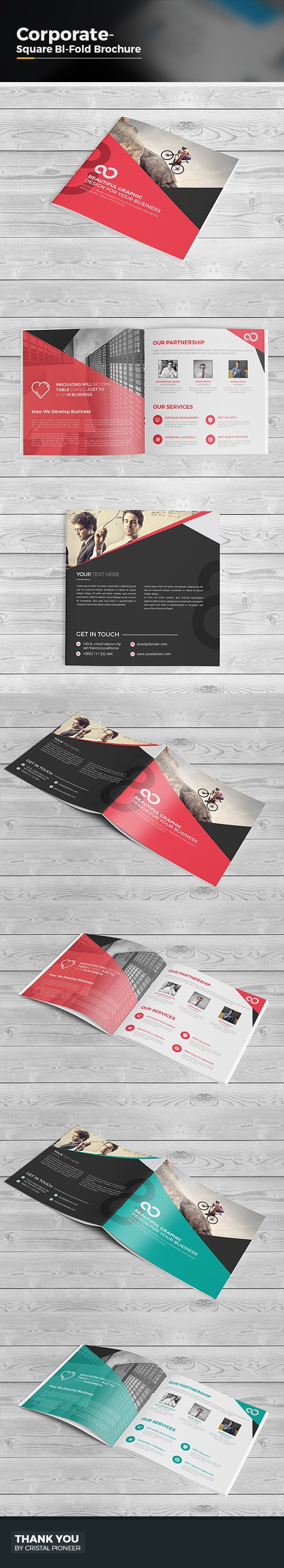 Square Bi Fold Brochure Template- Multipurpose Design is very easy to use and change text,color,size,look and everything because i made it on illustrator and included Eps, Ai & PDF file so please don't worry about changing