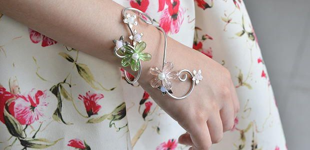 Flowers and Pearls Wrapped Bracelet