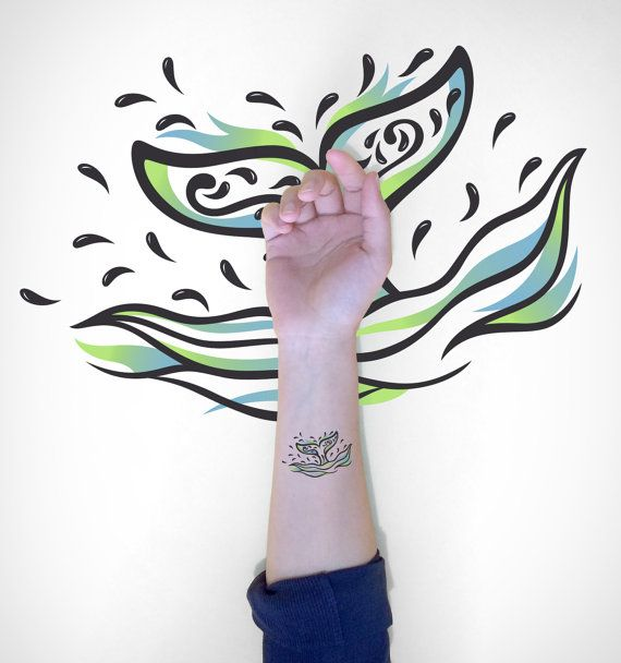 Whale Tale Temporary Tattoo / Decorative Whale by EasternCloud