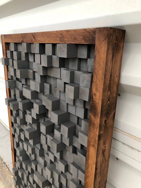 Reclaimed Wood, Sound Diffuser, Acoustic Panel, SoundProofing, Proof, Pixel, art, grey wood art, 3d art, wooden art, new, studio