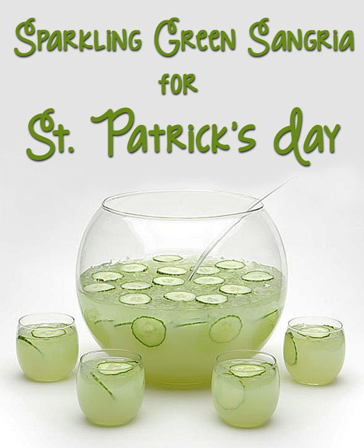 Sparkling Green Sangria for St Patrick's Day - a healthy and gluten free cocktail - get the recipe at This Mama Cooks! On a Diet