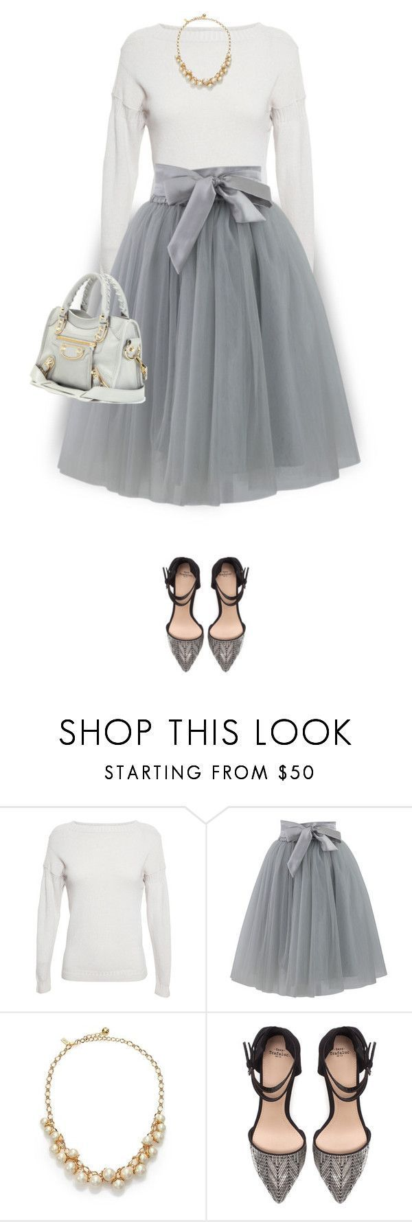 """""""Tulle Skirt"""" by daiscat ❤ liked on Polyvore featuring Burberry, Chicwish, Kate Spade, Zara and Balenciaga"""