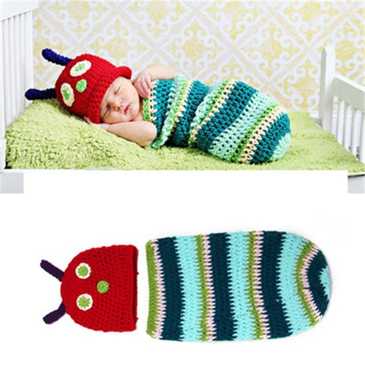 Caterpillar Bug Colorful Multi Baby Photography Prop Hat Cap Newborn Infant