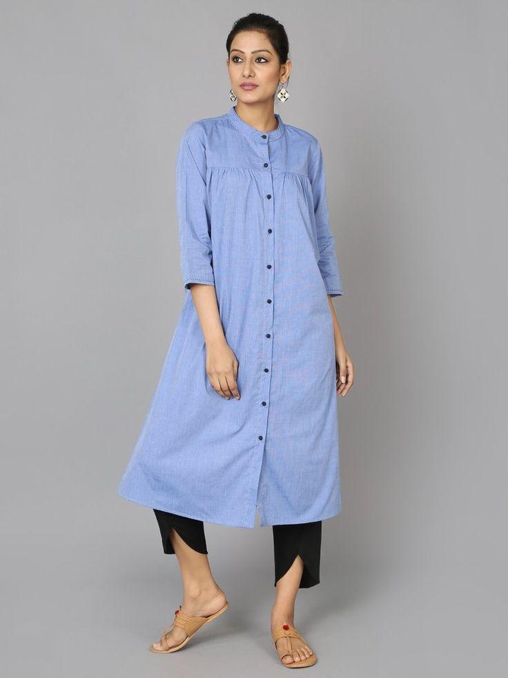 Blue Cotton Collar Kurta - The Wooden Closet