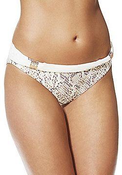 F&F Luxury Swimwear Snakeskin Print Fold-Over Bikini Briefs - Cream & Beige