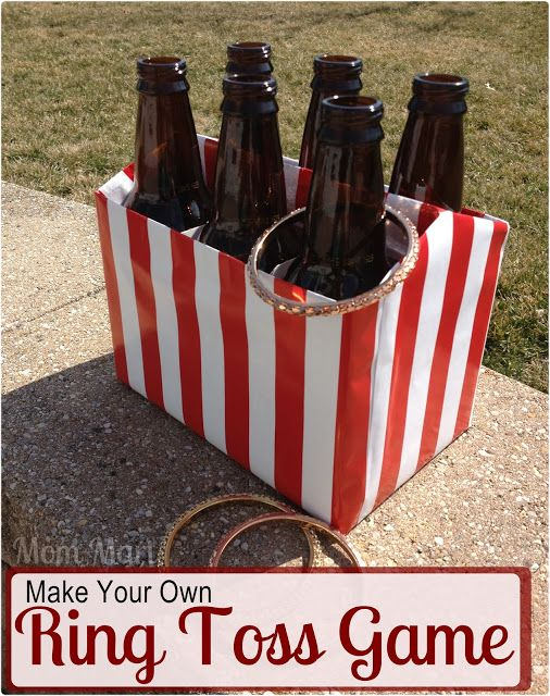 DIY Ring Toss Game for a circus or carnival themed party game for kids. Tutorial on how to make with pictures. #DIY #PartyPlanning #CircusTheme