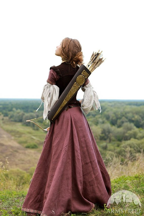 This listing includes the following items with 15% discount: 1. Linen dress with short sleeves (burgundy on photo). Slim fit bodice of the tunic emphasizes breast and waist while wide skirt with 4 additional gussets drapes with soft pleats. All this combines into well-known medieval silhouette of the XIII-XIV centuries. Available in different colors. The skirt is hemmed with the trim as well as sleeves and neckline. Also the trim is used to decorate the lacing fastening at the fore part of…