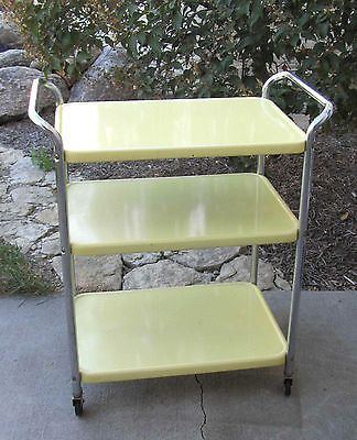 Vintage-YeLLow-COSCO-ROLLING-CART-STAND-Kitchen-YELLOW-mid-century-60s-utility