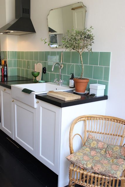 green kitchen tiles