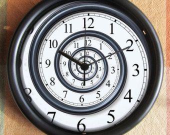 SPIRAL Look Cool Dali Nautilus Feng Shui BIG FULL 10 inch black wall clock