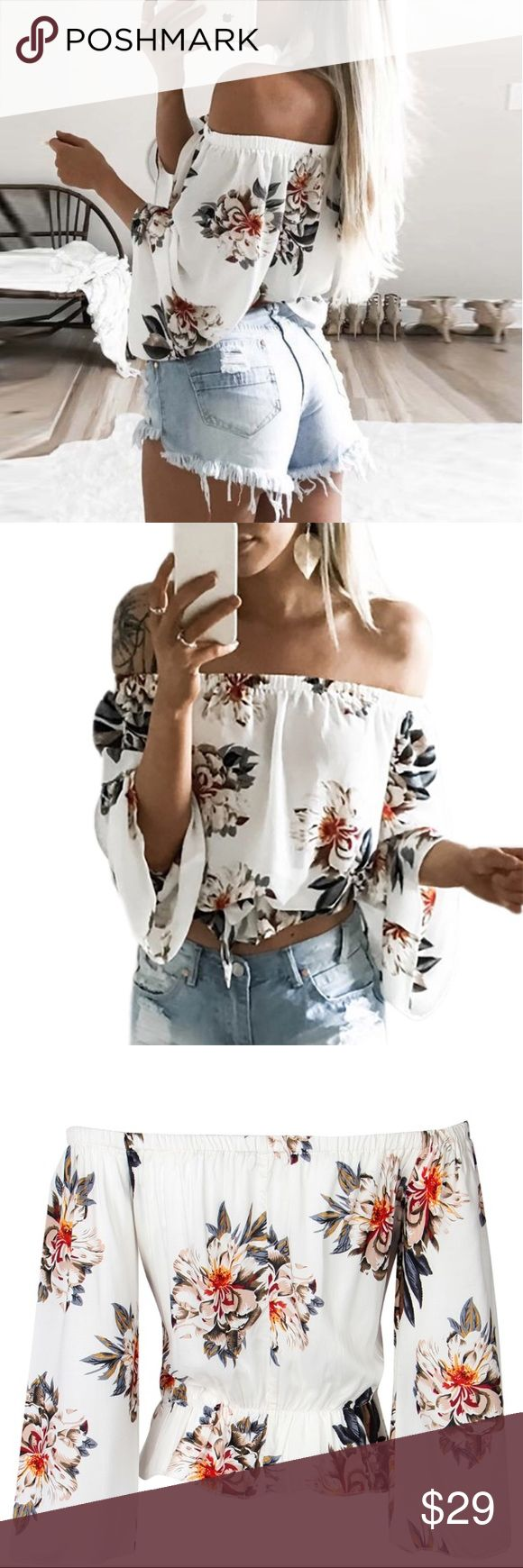 Floral Boho Off the Shoulder Top NWT in original packaging. Cotton/polyester blend material. Crop top. Runs one size smaller than tag size. Bell/batwing sleeve gives this piece a relaxed, casual feel.                                                                                   ✅ Offers encouraged  🛍 Bundle to receive 10%+ discount  💌 Same or Next business day shipping  ❌ No trades Tops Crop Tops