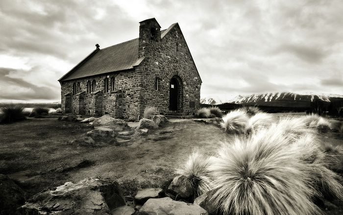 New zealand old church black and white landscape