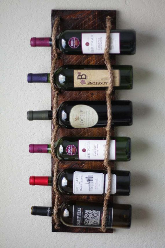 Wall Wine Rack Holds 6 Bottles by AdliteCreations on Etsy