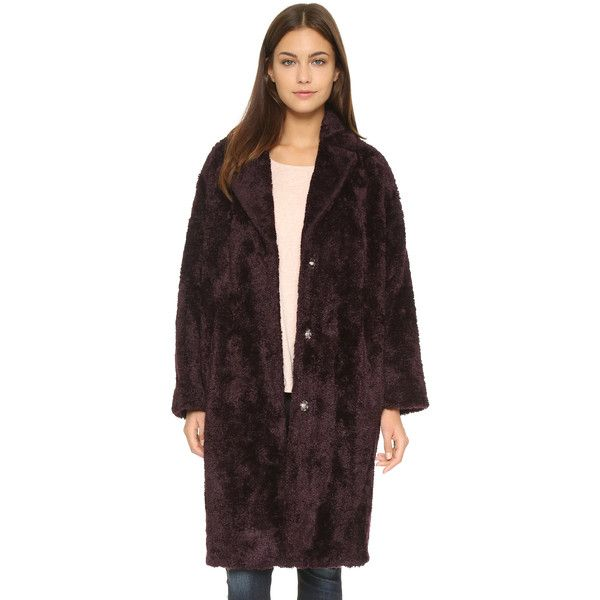 Whistles Teddie Faux Fur Cocoon Coat (1,460 ILS) ❤ liked on Polyvore featuring outerwear, coats, bordeaux, cocoon coat, oversized coat, long sleeve coat, fake fur coats and imitation fur coats