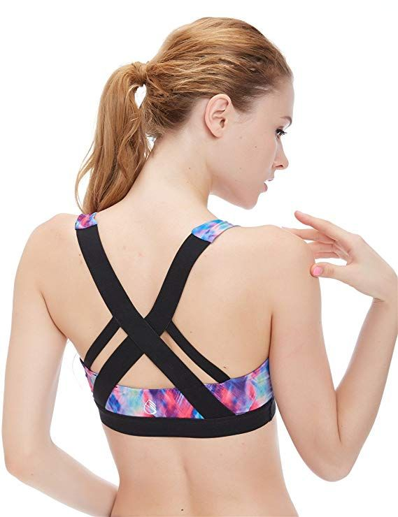 412989c8d icyzone Women s Workout Yoga Clothes Activewear Racerback Strappy Sports  Bras