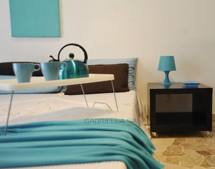 Camera da letto #turchese #turquoise #design #arredamento #interni #HomeStaging