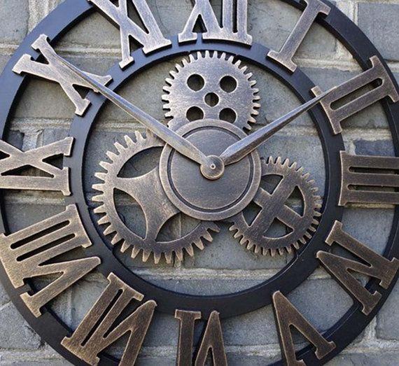 Grand mur horloge fait à la main en bois 20 pouces de couleur or