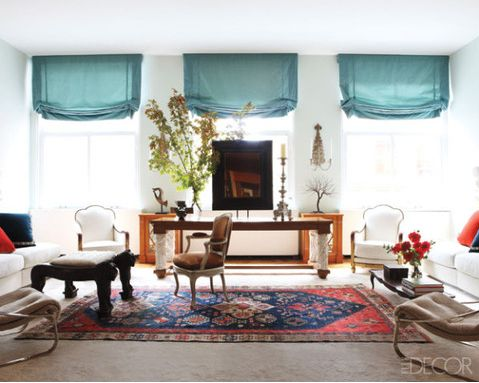 Love The Turquoise Shades, White Walls, And Persian Carpet. Design Dish: Rug