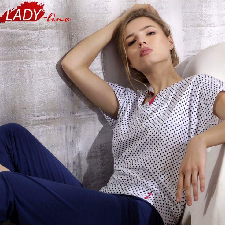 Poze Pijama Dama Maneca Scurta, Model Perfection, Brand Cana Nouvelle, Material Bumbac 100%, Culoare Alb/Albastru, Pijamale Dama Calitate Superioara