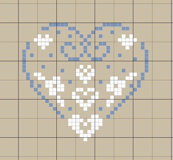 Coeur - Broderie point de croix bébé