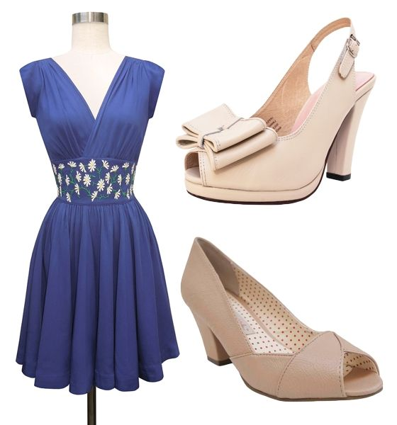 Cream Dress Blue Shoes