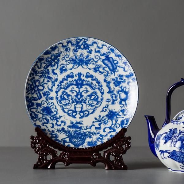 Traditional Ming Blue And White Ceramic Display Plates Can Be Displayed Alone Or In Pairs As A Stateme Home Decor Items Online Vintage Decor Home Decor Online