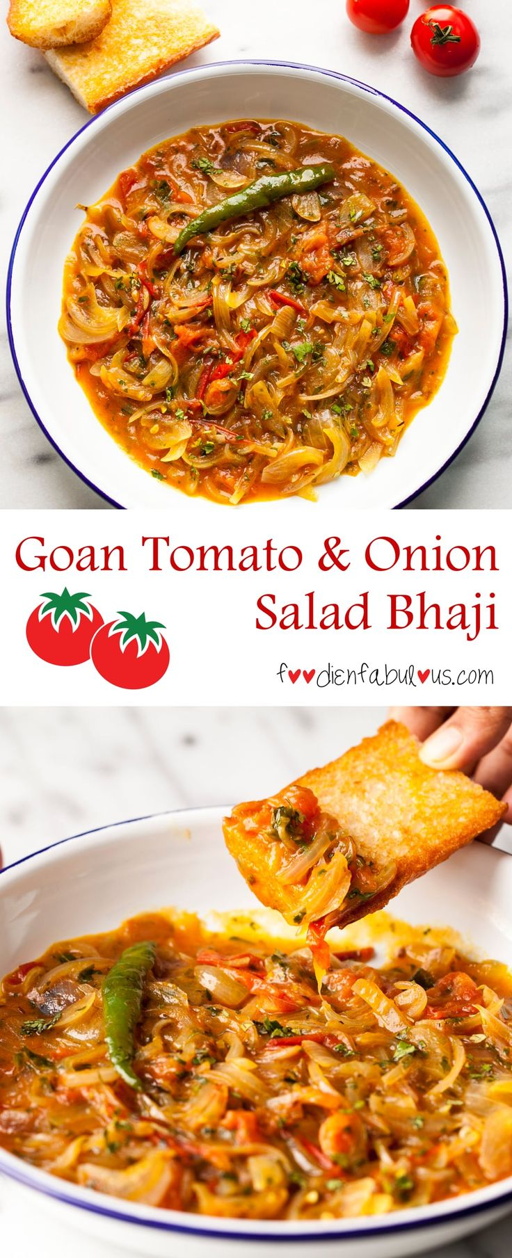 Authentic Goan recipe for a traditional breakfast of Tomato and Onion Salad bhaji found across all local homes and restaurants. Served with pao and a side of chao (chai/tea)