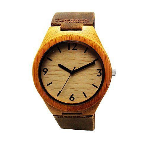 Handmade Wooden Watch Made with Natural Bamboo Wood in Brown Leather Strap - HGW