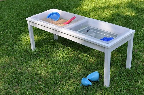 Sand/water table combo, made from plastic storage bins
