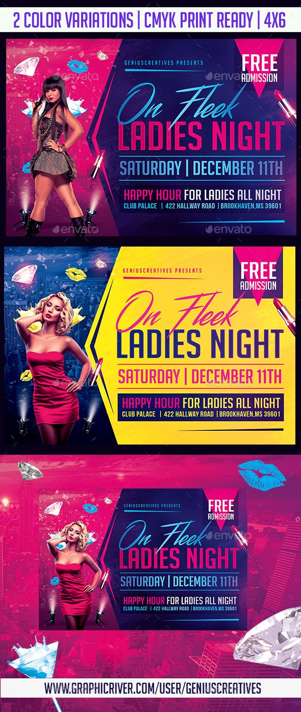 Ladies Night Flyer Template — Photoshop PSD #party #deluxe • Download ➝ https://graphicriver.net/item/ladies-night-flyer-template/19727028?ref=pxcr