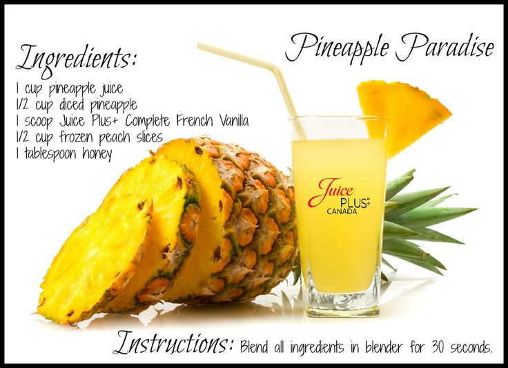 "Try the ""Pineapple Paradise"" Juice Plus+ Complete beverage! #JPComplete #JPCanada #pineappleparadise #recipe"