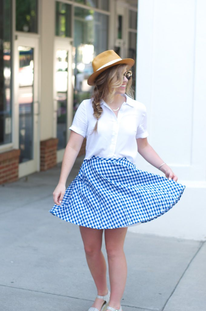 Louella Reese - Brunch Outfit Inspiration with J.Crew Gingham Skirt, Panama Hat, & Stripes Flatforms (fishtail braid)