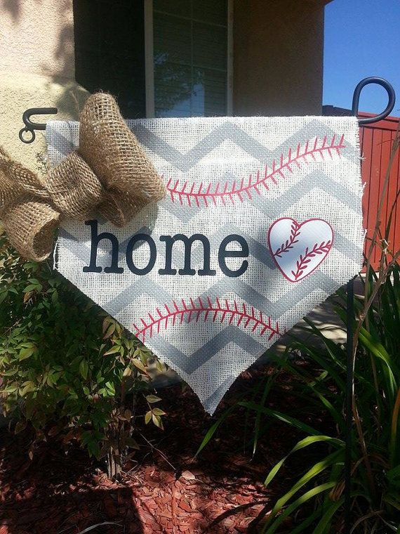 Baseball Home Plate Burlap Garden Flag by DesignsbyTiffiny on Etsy