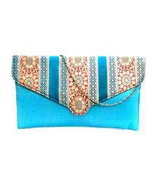Buy Raw Silk Clutch with Multicoloured Traditional Design Flap (Light Blue) clutch online
