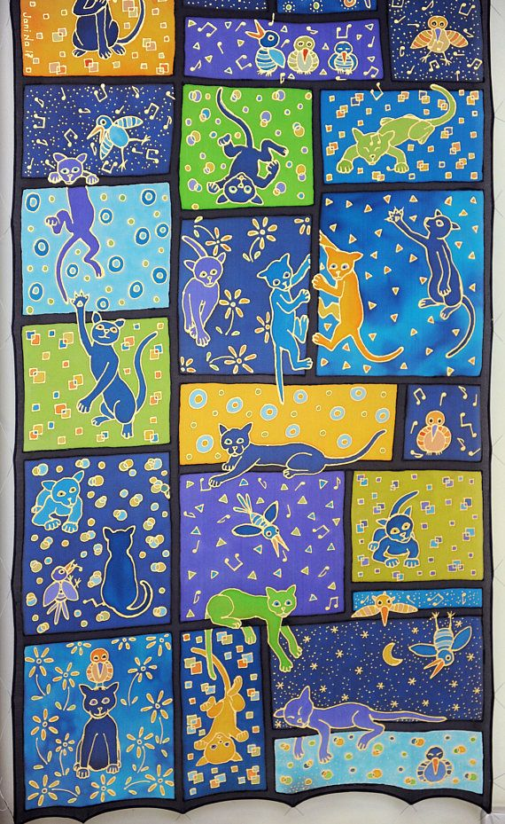 cats in the window, hand painted silk scarf, patchwork and stained glass effect, 40cm x 160cm, original art