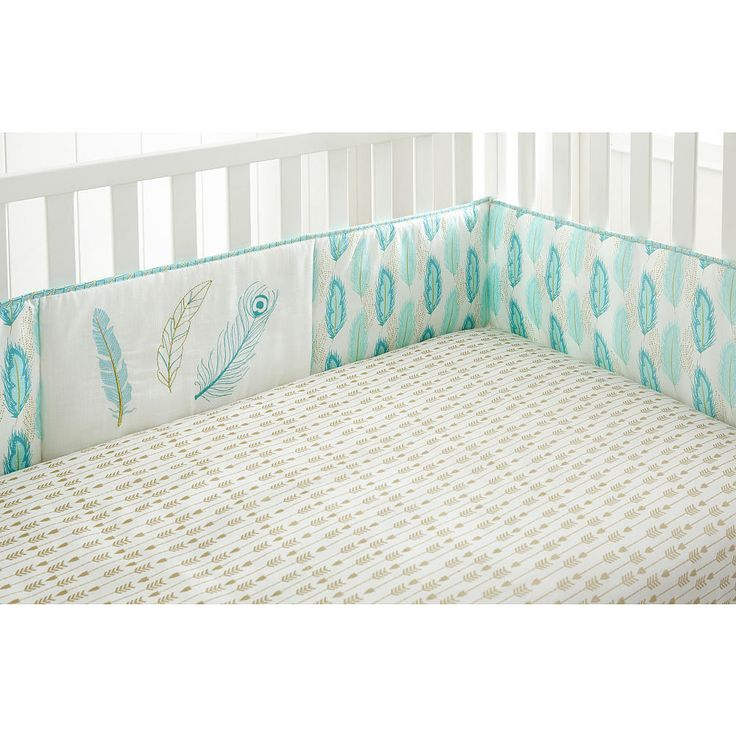 Babies R Us Exclusive. The Little Feather Aqua Crib Bumper is a four piece bumper with an aqua, teal and metallic gold feather pattern on front…