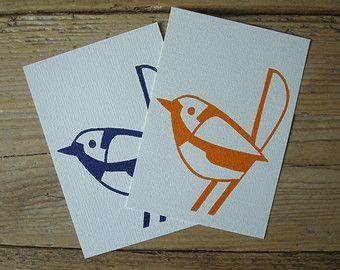 Pretty Birds - single cards with lino print