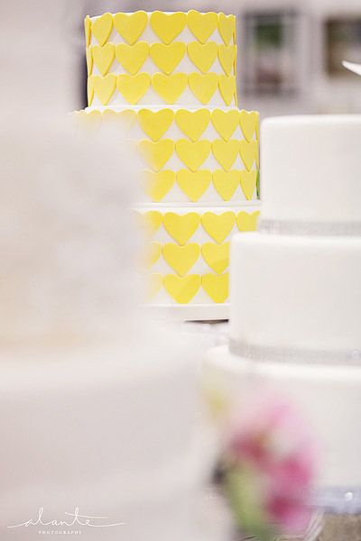 Yellow heart wedding cake from The Sweet Side @Kara Morehouse Morehouse Lawson Burfeind - www.alantephotography.com