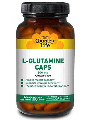 Country Life L-Glutamine 500 mg w/B-6, 100 Capsules