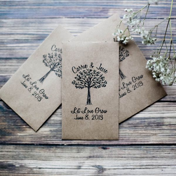 Many people give out seeds as wedding favors because not only are they affordable, but they're also an eco-friendly gesture. However, keep in mind that not everyone has the space in their home or a yard to grow plants.You can make the seed packets yourself or buy customized ones online. We found these cute kraft-seed envelopes on Etsy that are selling for $90 per 100 pieces — that's $0.90 per envelope.