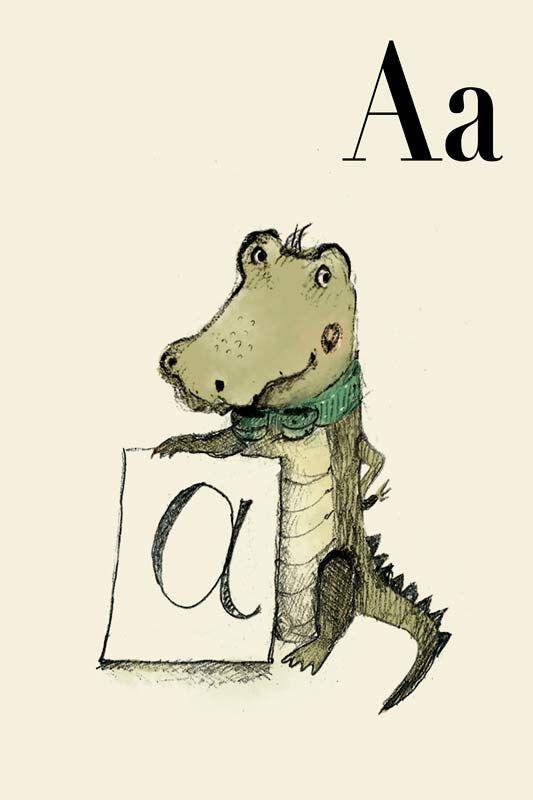 A für Alligator-8 x 11-Alphabet Kunst Alphabet drucken von holli