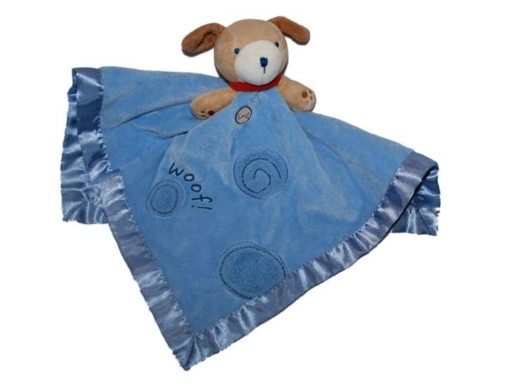 Carters Puppy Dog Blue Woof Spots Security Baby Blanket