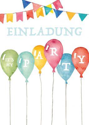Einladung Zum Geburtstag Für Groß Und Klein Mit Farbenfrohen Luftballons In  Aquarell Look.