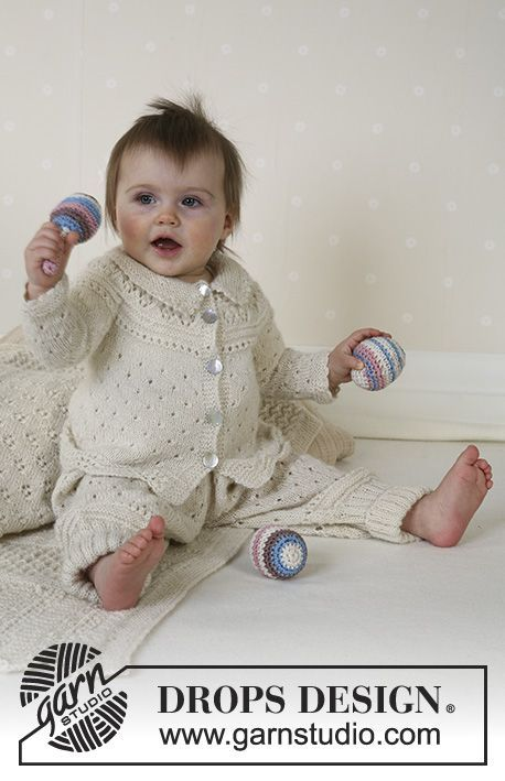 DROPS Jacket, trousers, bonnet, socks, blanket, ball and rattle in Alpaca