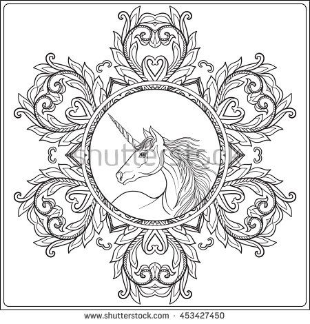 Unicorn In Vintage Decorative Floral Mandala Frame Vector Illustration Coloring Book For Adult And