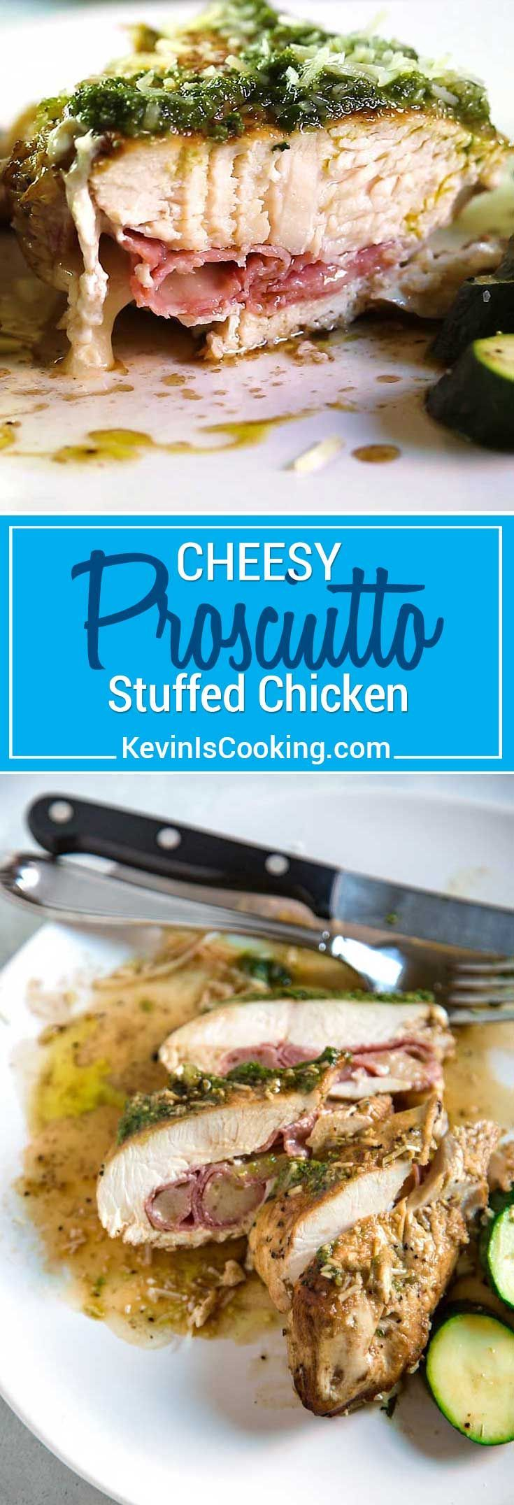 With a few on hand ingredients like pesto, mozzarella cheese and deli meat, this Cheesy Prosciutto Stuffed Chicken with Pesto is on the table in 30 minutes! #chicken #easy