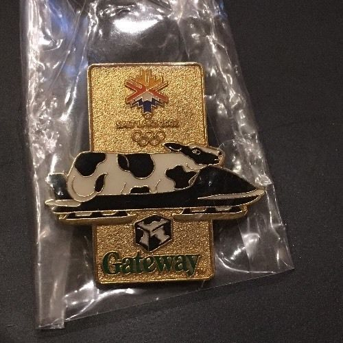 2002 Salt Lake City Gateway Cow on Bobsled Olympic Sponsor Pin  | eBay